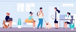 Veterinary clinic. Veterinarian services reception, queue to veterinarian doctor. Vet office animal health caring hospital. Pet owners with dogs vector illustration