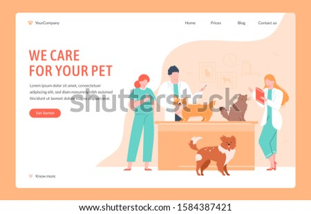Veterinary clinical help. Dog and cat doctors giving vaccinations, measure temperature and take tests, domestic pets clinical examination vector illustration. Vet clinic landing page design template