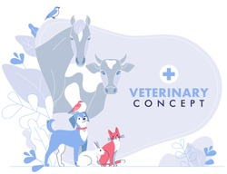 Veterinary concept with group livestock animals and domestic pets in vet clinic. Crowd of animals with cat, dog, cow, horse, rabbit, birds.  Healthcare, medicine treatment, prevention and immunize