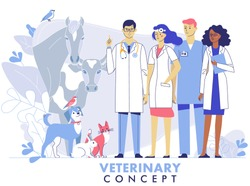 Veterinary concept with livestock animals, pets and doctors team in vet clinic. Young veterinarian man and woman standing together with cat, dog, cow, horse, rabbit, birds.  Healthcare of pets.