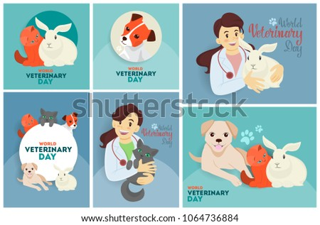 Veterinary day set of greeting cards with doctor and animals.