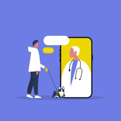 Veterinary doctor appointment. Online consultation. Modern healthcare technologies. Hospital. Millennial male patient with a dog. Flat editable vector illustration, clip art