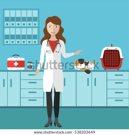 Veterinary doctor in a veterinary clinic. Female with a cat.