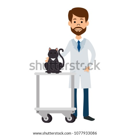 veterinary doctor with cat in cart