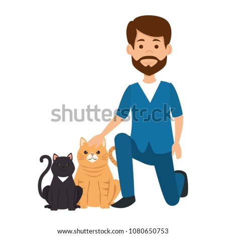 veterinary doctor with cats avatar character