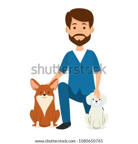 veterinary doctor with dogs avatar character