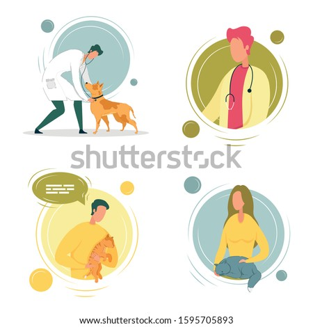 Veterinary Doctors Avatars with Cats and Dogs Cartoon Characters. Online Veterinary Professional Appointment to Medical Specialists Consultation on Animals Health. Vector Cartoon Illustration.