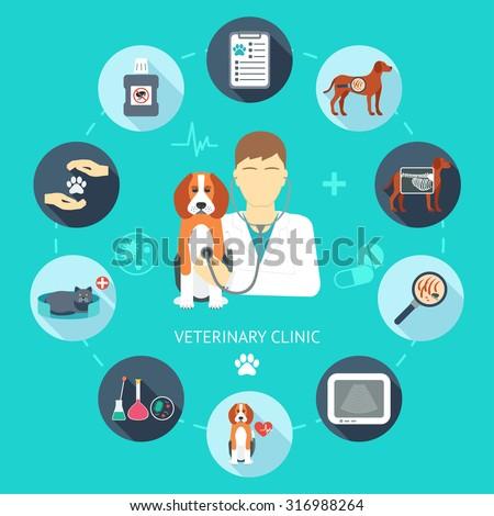 Veterinary flat icon set. Veterinary banner, background, poster, concept. Vet clinic. Flat design. Vector illustration