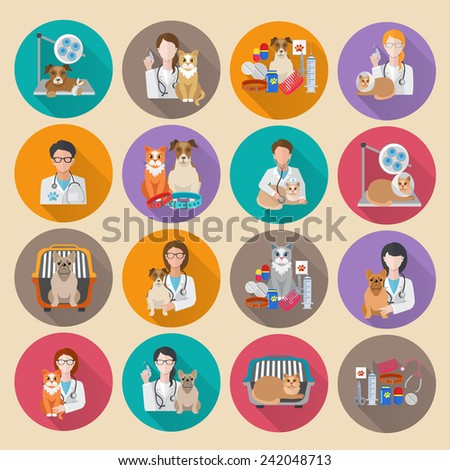 Veterinary icon flat set with pet carriage vet clinic and doctor isolated vector illustration