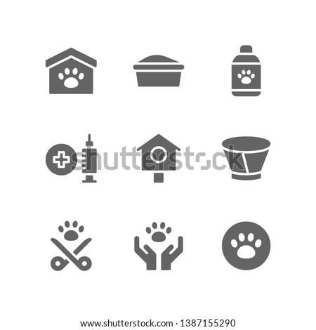 Veterinary icon set including animal, shelter, litter box, grooming, shampoo, vaccine, pet, collar, sterilization, adoption, vet, paw