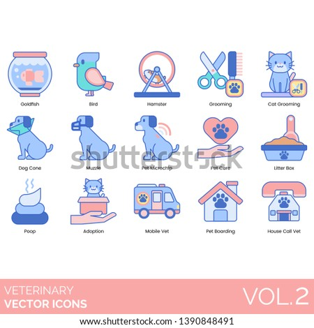 Veterinary icons including goldfish, bird, hamster, cat grooming, dog cone, muzzle, pet microchip, care, litter box, poop, adoption, mobile vet, boarding, house call.