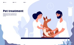 Veterinary landing. Veterinarian treats pet in clinic. Treatment, counseling and care for pets vector website concept. Illustration of care dog, professional help in clinic