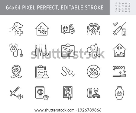 Veterinary line icons. Vector illustration include icon - stethoscope, grooming, , xray, ultrasound, vaccination, sterilization outline pictogram for vet clinic. 64x64 Pixel Perfect, Editable Stroke. Photo stock ©