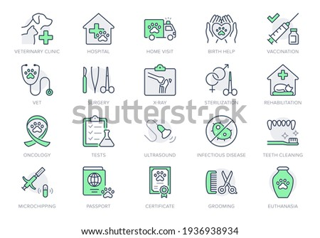 Veterinary line icons. Vector illustration include icon - stethoscope, grooming, , xray, ultrasound, vaccination, sterilization outline pictogram for vet clinic. Green Color, Editable Stroke. Photo stock ©