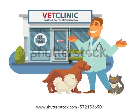 Veterinary medicine hospital, clinic for animals. Smiling veterinarian doctor with dogs and cat near him. Vet clinic facade. Health care or treatment for wild or domestic animals.