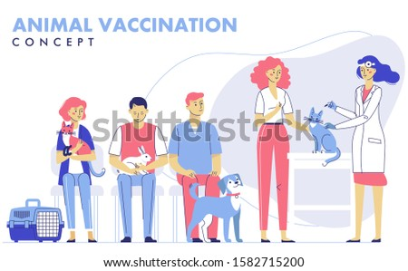 Veterinary  vaccination concept with animals and doctor in vet clinic for immunity health. Veterinarian makes an injection to cat in hospital. Patients are waiting in line. Healthcare.