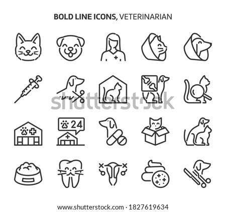 Veterinerian, bold line icons. The illustrations are a vector, editable stroke, 48x48 pixel perfect files. Crafted with precision and eye for quality. stock photo