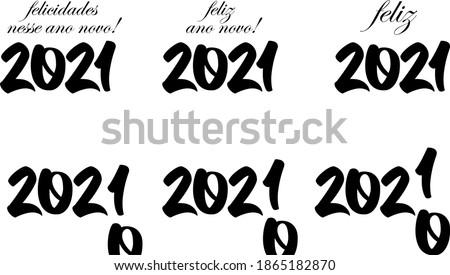 Vetores feliz 2021 em preto isolados em fundo branco, feliz 2021 feliz ano novo! felicidades nesse ano novo! 2021 Foto stock ©