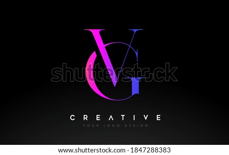 VG GV letter design logo logotype icon concept with serif font and classic elegant style look vector illustration. Stok fotoğraf ©