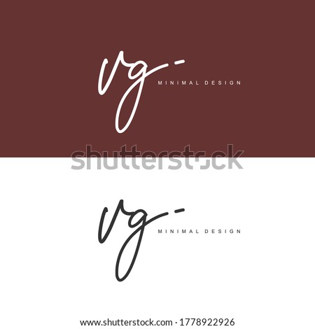 VG Initial handwriting or handwritten logo for identity. Logo with signature and hand drawn style. Stok fotoğraf ©