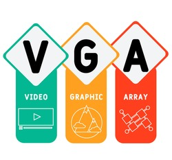VGA - Video Graphic Array acronym. business concept background.  vector illustration concept with keywords and icons. lettering illustration with icons for web banner, flyer, landing page