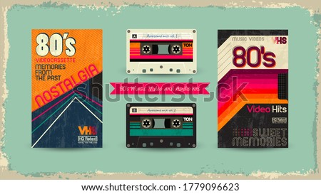 VHS tape. Vector beta tape, cassette box old graphic in 80s glitch style. Awesome super video hits. VHS effect. 80's,90's style. Retro vintage cover. Eighties letters. Easy editable design template.