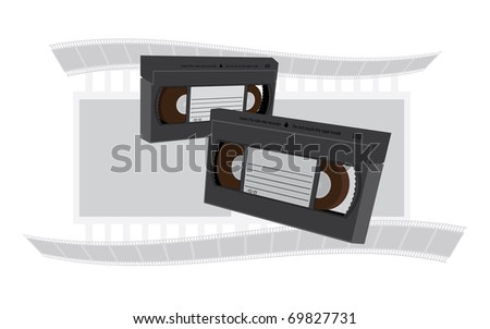 VHS videotapes recordable cassette illustration