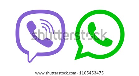 Viber, Whatsapp messenger logo line icon color. Messengers logotype. Vector illustration. EPS 10
