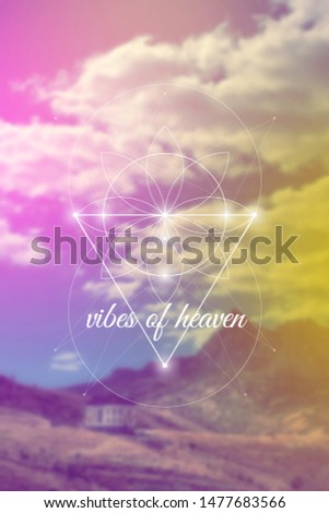Vibes of heaven sacred geometry inspired vector illustration with flower of life and mountains.