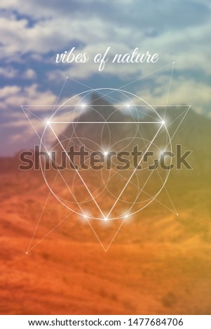 Vibes of nature sacred geometry inspired vector illustration with flower of life and mountains.