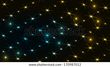 Vibrant abstract background made out of yellow and blue lights / abstract star night / abstract background