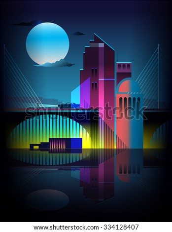 vibrant abstract buildings and