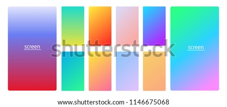 Vibrant and smooth gradient soft colors for devices, pc's and modern smartphone screen backgrounds set vector ux and ui design illustration