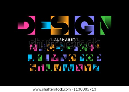 Vibrant color modern font, alphabet vector illustration