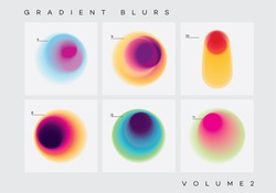 Vibrant colorful abstract gradient blurs design elements