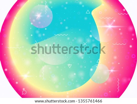Vibrant gradients on rainbow background. Holographic dynamic fluid. Cosmos hologram. Design template for annual report, wallpaper and book. Cute vibrant gradients.