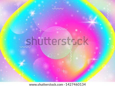 Vibrant gradients on rainbow background. Holographic dynamic fluid. Cosmos hologram. Design template for web app, mobile interface and wallpaper. Vintage vibrant gradients.