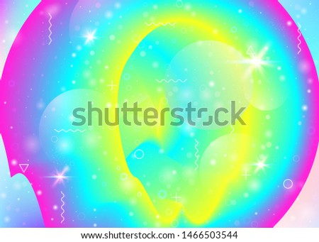 Vibrant gradients on rainbow background. Holographic dynamic fluid. Cosmos hologram. Design template for cover, poster and mobile screen. Fluorescent vibrant gradients.