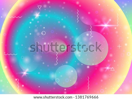 Vibrant gradients on rainbow background. Holographic dynamic fluid. Cosmos hologram. Graphic layout for placard, poster and mobile interface. Kawaii vibrant gradients.