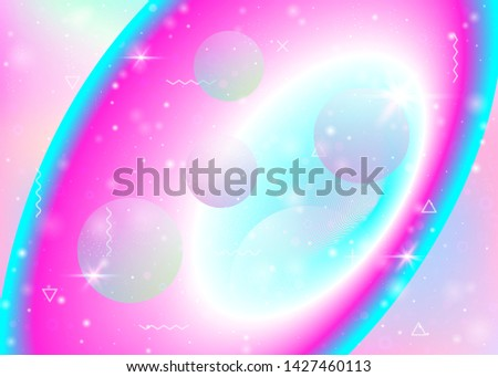 Vibrant gradients on rainbow background. Holographic dynamic fluid. Cosmos hologram. Graphic layout for book, presentation and banner. Colorful vibrant gradients.