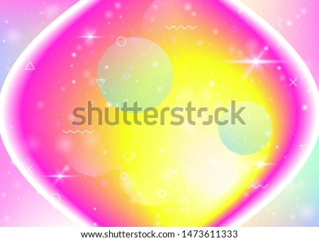 Vibrant gradients on rainbow background. Holographic dynamic fluid. Cosmos hologram. Graphic layout for wallpaper, mobile screen and book. Kawaii vibrant gradients.