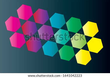 Vibrant minimal colored hexagon pattern vector illustration. Hipster, minimalism concepts.