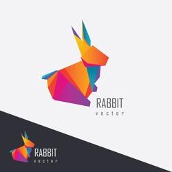 vibrant multicolored abstract geometric polygonal rabbit logo element for company visual identity branding