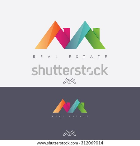 Vibrant multicolored real estate logo design in letter m shape made of abstract roof tops