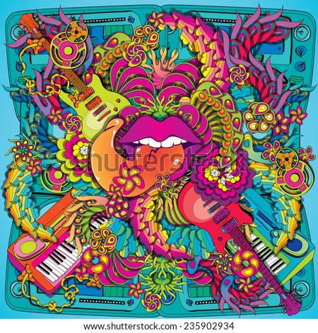 vibrant psychedelic music lips