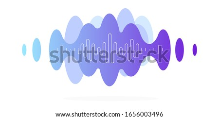 Vibrations, audio message, blue cloud with a white thin frequency line. Modern minimalistic illustration, vector file. Stock photo ©