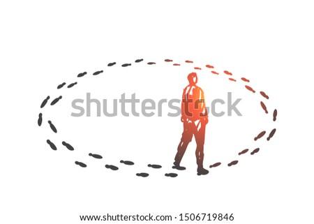 Vicious circle, monotony concept sketch. Hand drawn isolated vector