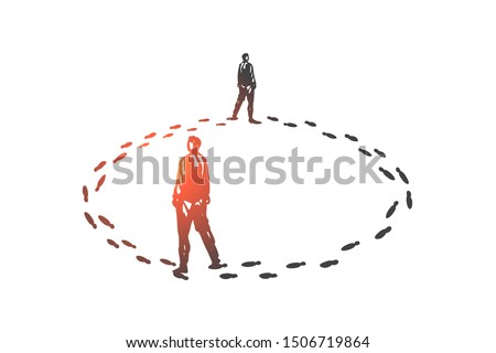 Vicious circle, routine concept sketch. Hand drawn isolated vector