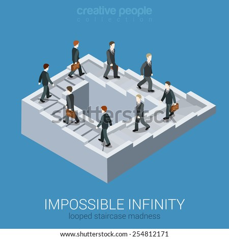 Vicious circle stalemate infinite loop flat 3d web isometric infographic business concept vector. Impossible fairy maze fable nonexistent pathway staircase optical illusion. Creative people collection Сток-фото ©