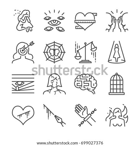 Victim and harassment line icon set. Included the icons as girl, victim, suffer, woman rights, target, imprison and more.